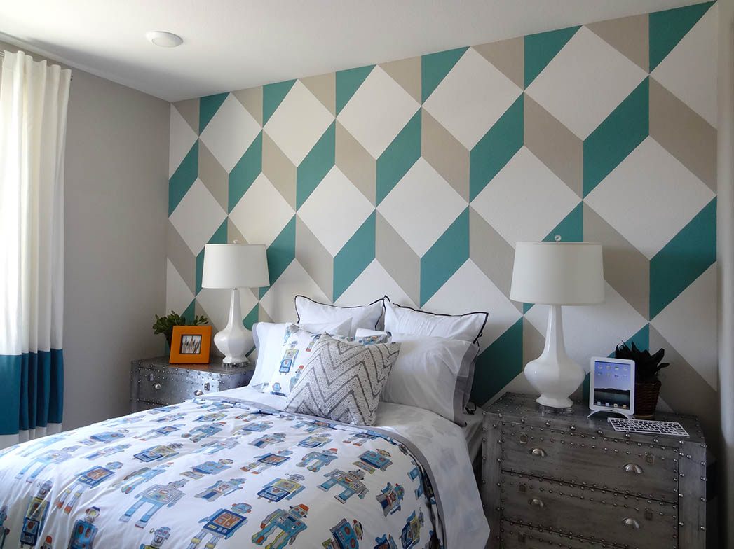 3 D Cube Patterned Accent Wall At Linear Alameda Landing By TRI Pointe Homes